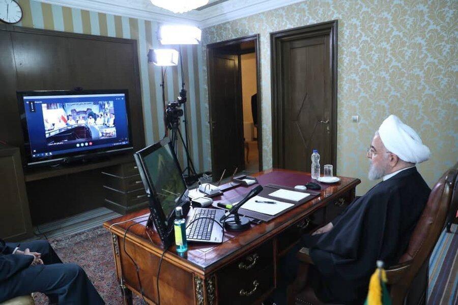 تصاویر ، گفت وگوی ویدئو کنفرانسیِ پرسنل بیمارستان امام خمینی با رئیس جمهور